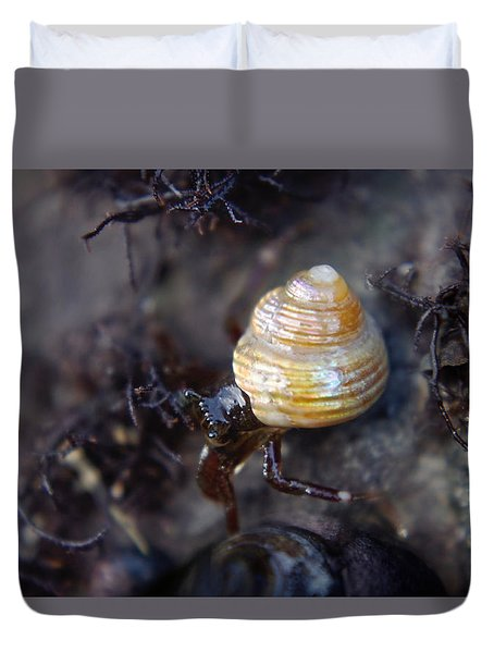 Duvet Cover featuring the photograph Iridescent Shell by Adria Trail