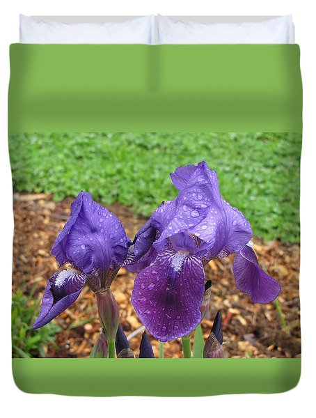 Duvet Cover featuring the photograph Iris After Rain by Katie Wing Vigil