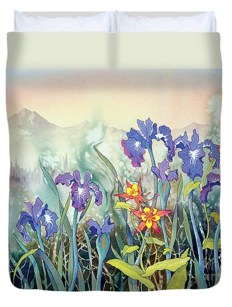 Duvet Cover featuring the painting Iris And Columbine II by Teresa Ascone
