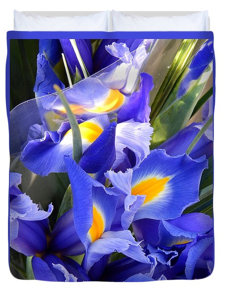 Iris Blues In New Orleans Louisiana Duvet Cover by Michael Hoard