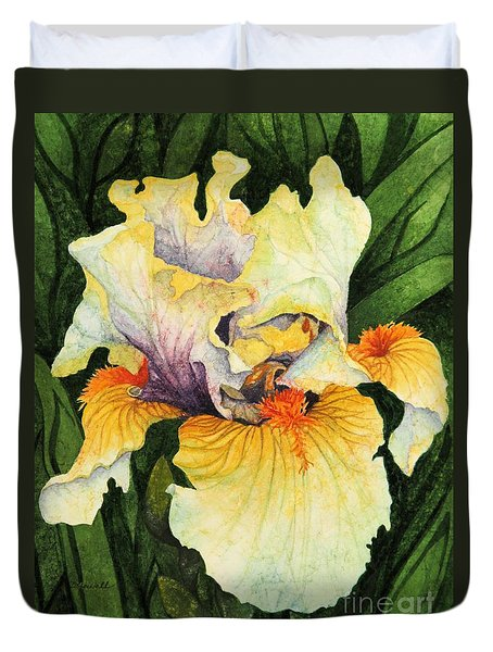 Duvet Cover featuring the painting Iris Elegance by Barbara Jewell