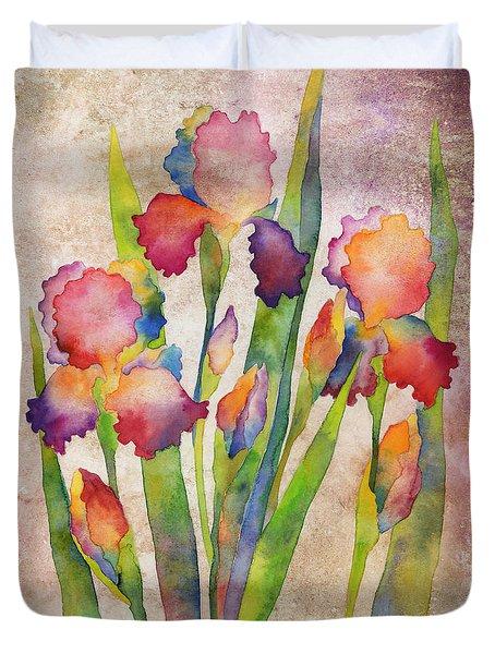 Iris Elegance On Pink Duvet Cover
