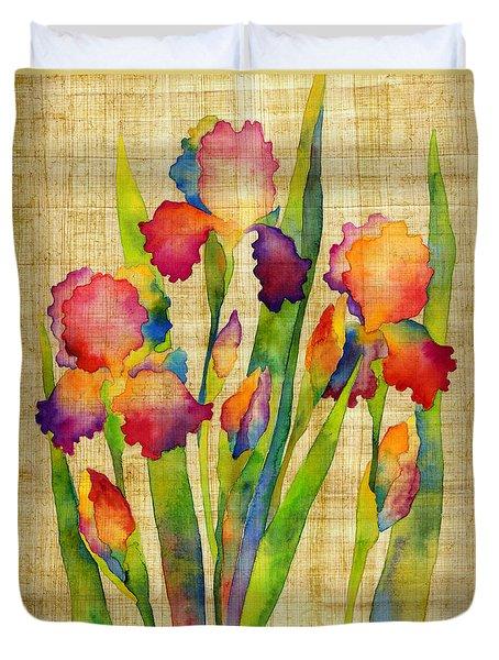 Iris Elegance On Yellow Duvet Cover