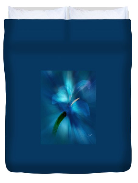Duvet Cover featuring the digital art Iris Essence by Frank Bright