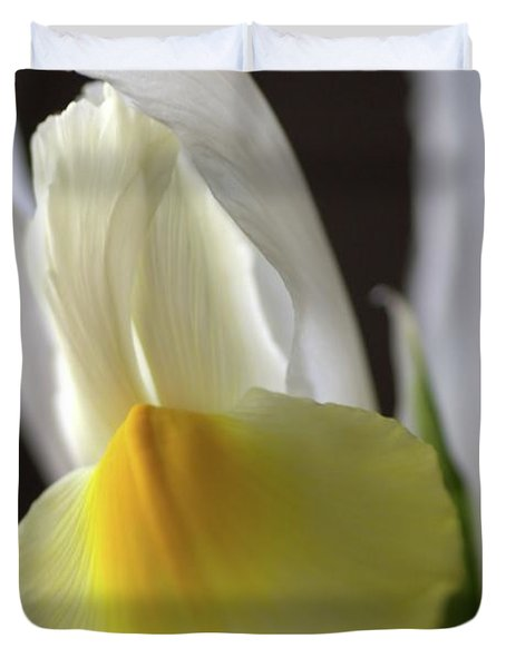 Duvet Cover featuring the photograph Iris Flower by Joy Watson
