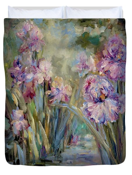 Duvet Cover featuring the painting Iris Garden by Mary Wolf