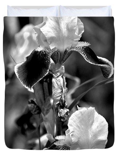 Iris In Black And White Duvet Cover by Karon Melillo DeVega
