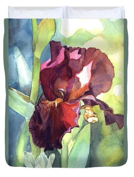 Watercolor Of A Tall Bearded Iris Called Sultan's Palace In Red And Burgundy Duvet Cover