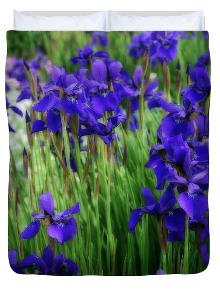Duvet Cover featuring the photograph Iris In The Field by Kay Novy