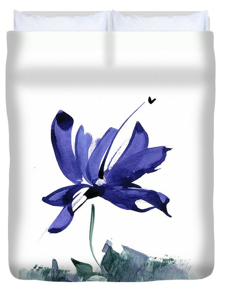 Duvet Cover featuring the painting Iris In The Greenery Watercolor by Frank Bright