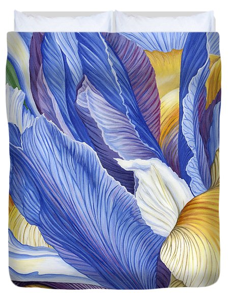 Duvet Cover featuring the painting Iris by Jane Girardot