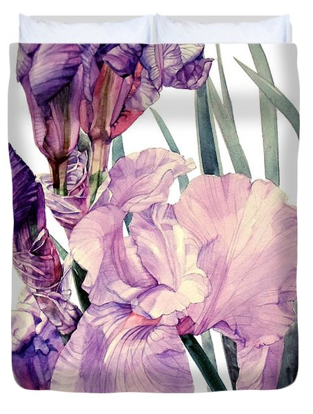 Watercolor Of An Elegant Tall Bearded Iris In Pink And Purple I Call Iris Joan Sutherland Duvet Cover