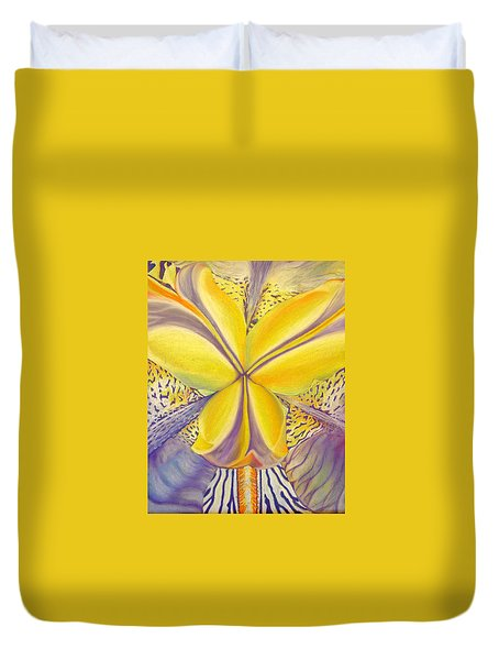 Duvet Cover featuring the drawing Iris by Joshua Morton