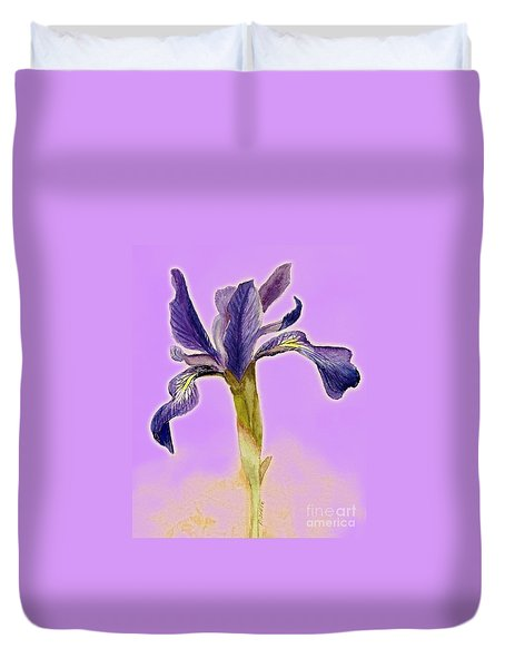 Iris On Lilac Duvet Cover by Barbie Corbett-Newmin