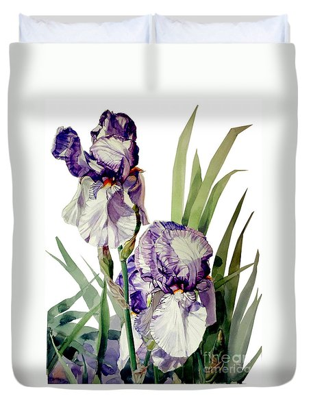 Watercolor Of A Tall Bearded Iris In Violet And White I Call Iris Selena Marie Duvet Cover