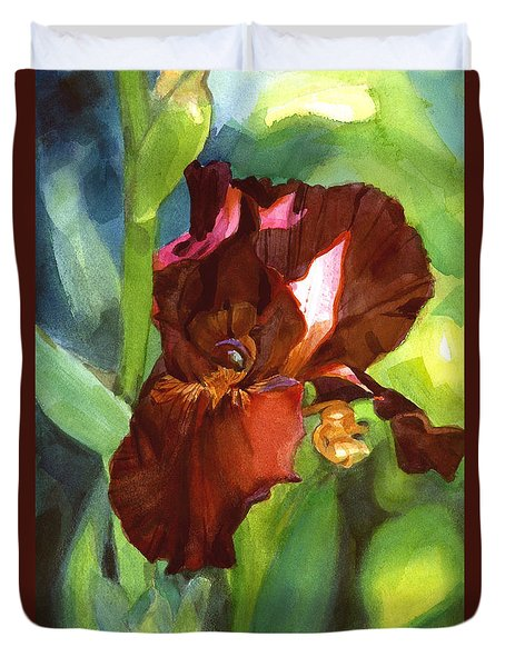 Watercolor Of A Tall Bearded Iris In Sienna Red Duvet Cover
