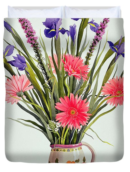 Irises And Berbera In A Dutch Jug Duvet Cover by Christopher Ryland