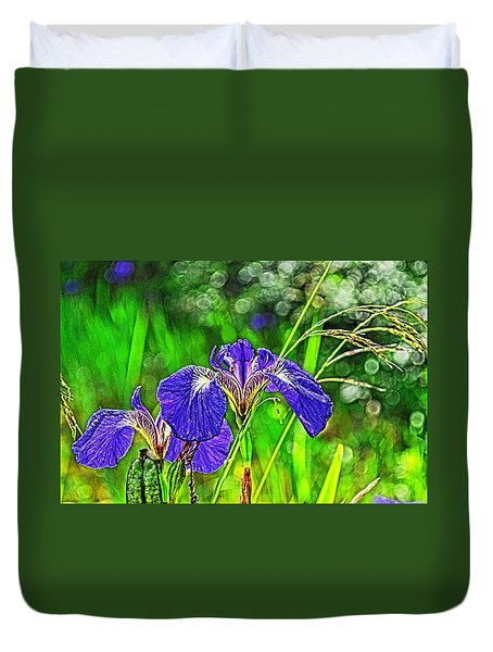 Duvet Cover featuring the photograph Irises by Cathy Mahnke