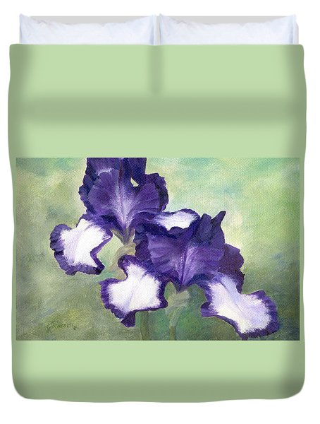 Irises Duet In Purple Flowers Colorful Original Painting Garden Iris Flowers Floral K. Joann Russell Duvet Cover