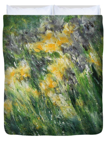Duvet Cover featuring the painting Irises by Jane See
