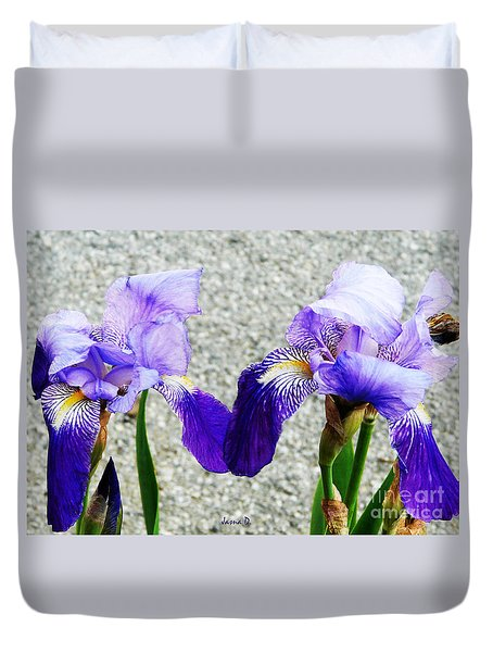 Duvet Cover featuring the photograph Irises by Jasna Dragun