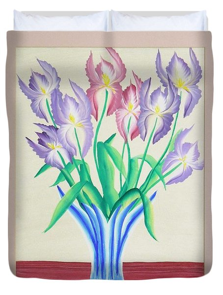 Irises Duvet Cover by Ron Davidson