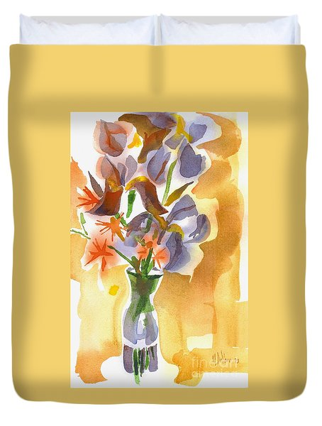 Irises With Stars Of Bethlehem Duvet Cover by Kip DeVore