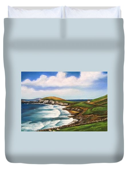 Duvet Cover featuring the painting Dingle Peninsula Irish Coastline by Melinda Saminski
