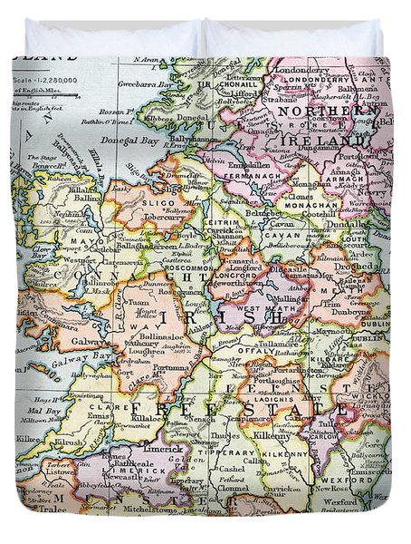 Irish Free State And Northern Ireland From Bacon S Excelsior Atlas Of The World Duvet Cover by English School