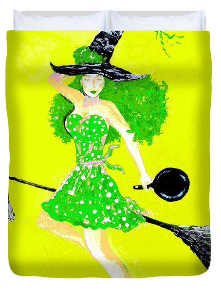 Irish Kitchen Witch Duvet Cover by Alys Caviness-Gober