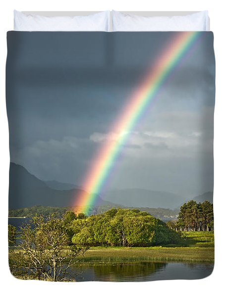 Duvet Cover featuring the photograph Irish Rainbow by Jane McIlroy