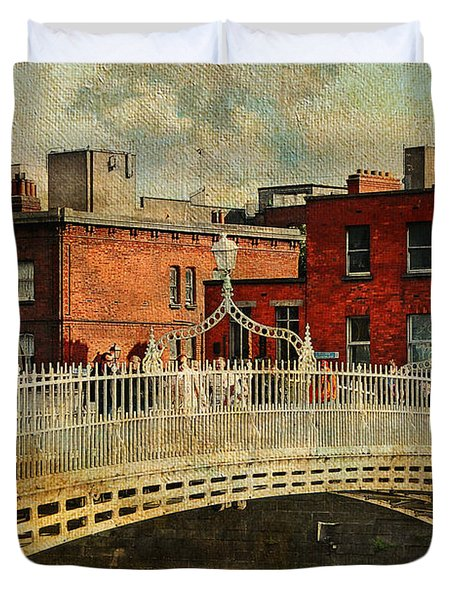 Irish Venice. Streets Of Dublin. Painting Collection Duvet Cover by Jenny Rainbow