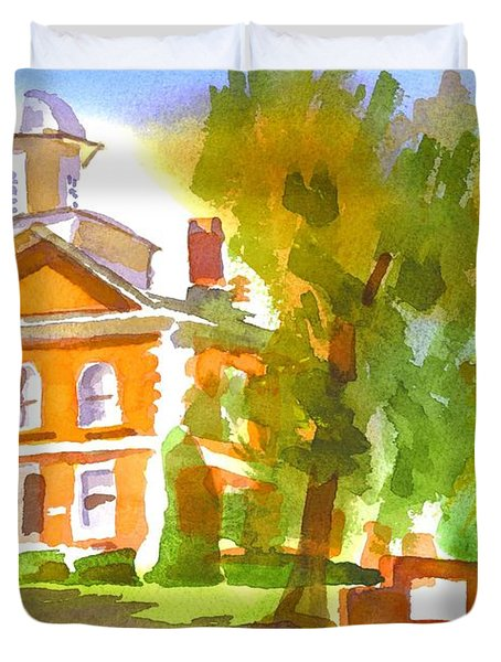 Iron County Courthouse In Watercolor Duvet Cover