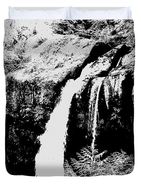 Iron Creek Falls Bw Duvet Cover