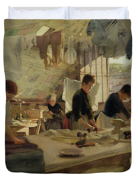 Ironing Workshop In Trouville Duvet Cover by Louis Joseph Anthonissen