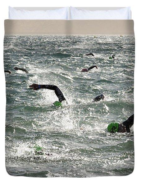 Ironman 2012 Sheer Determination Duvet Cover by Bob Christopher