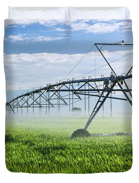 Irrigation Equipment On Farm Field Duvet Cover by Elena Elisseeva