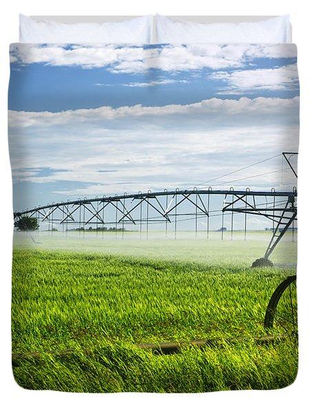 Irrigation On Saskatchewan Farm Duvet Cover by Elena Elisseeva