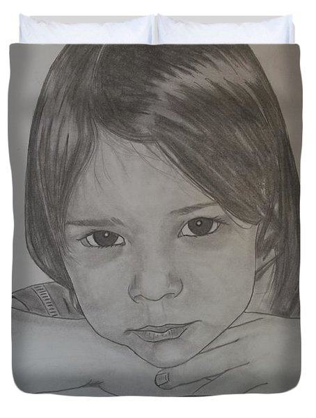 Duvet Cover featuring the drawing Isabella by Justin Moore