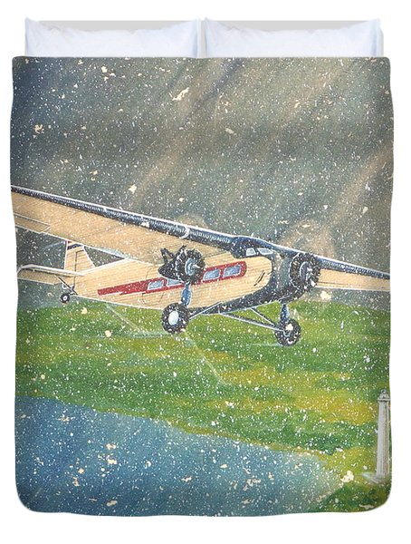 Island Airlines Ford Trimotor Over Put-in-bay In The Winter Duvet Cover