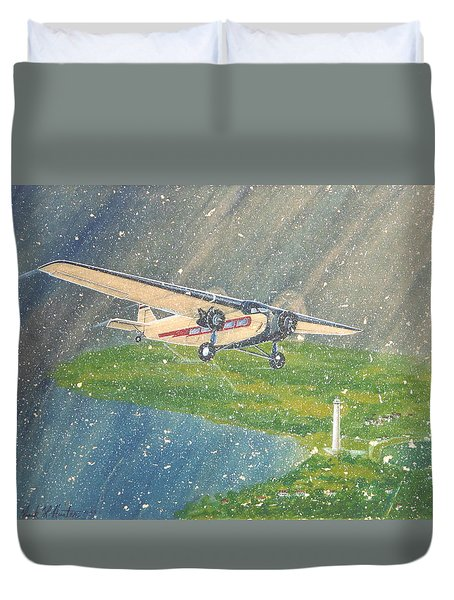 Island Airlines Ford Trimotor Over Put-in-bay In The Winter Duvet Cover by Frank Hunter