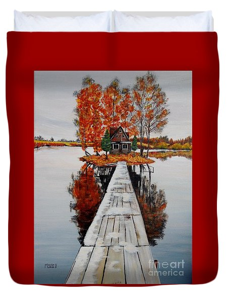 Island Cabin Duvet Cover by Marilyn  McNish