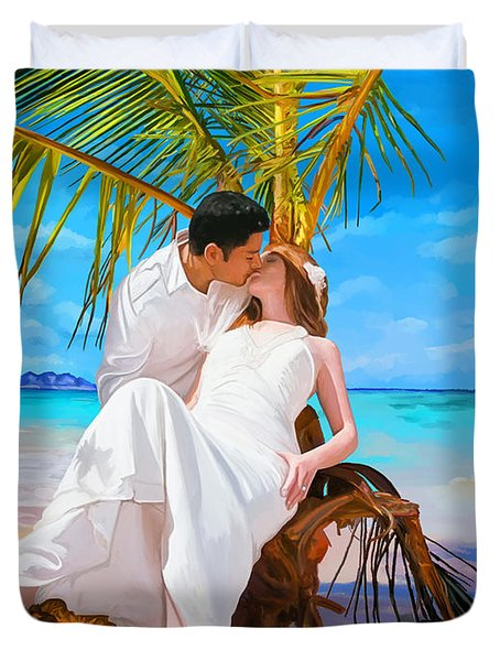Duvet Cover featuring the painting Island Honeymoon by Tim Gilliland