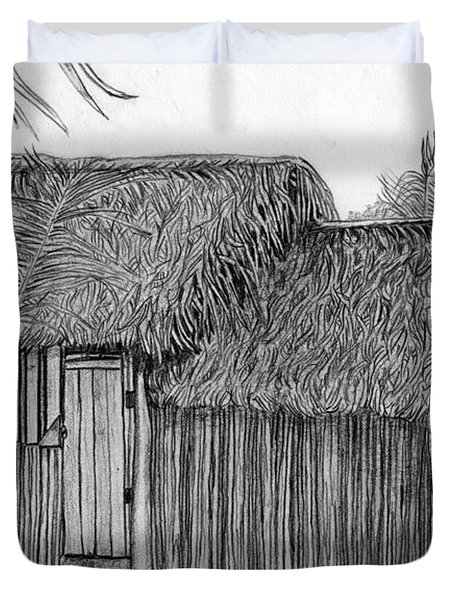 Duvet Cover featuring the drawing Island House 1 by Lew Davis