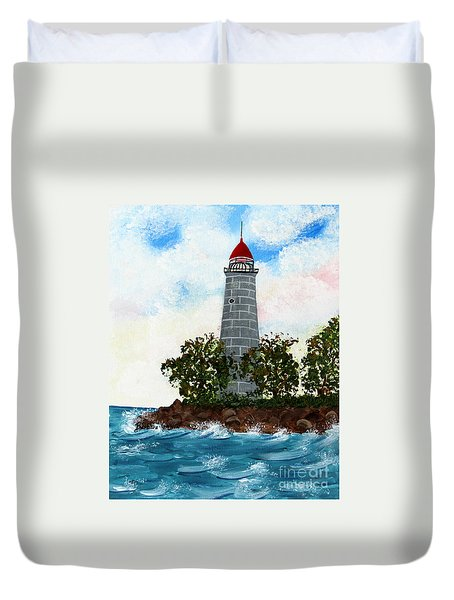Island Lighthouse Duvet Cover by Barbara Griffin