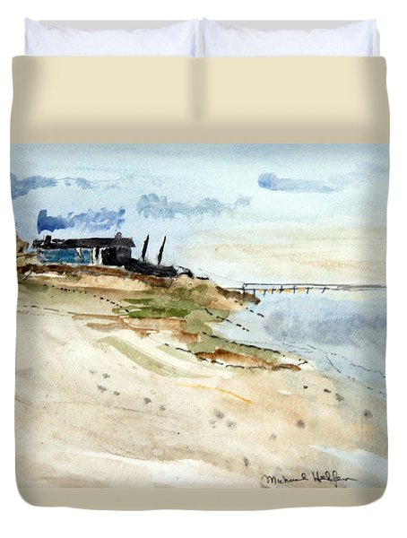 Isolated Beach House Duvet Cover
