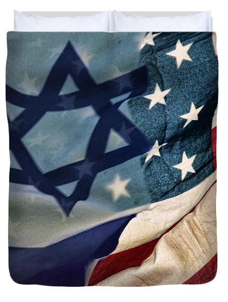 Israeli American Flags Duvet Cover by Ken Smith