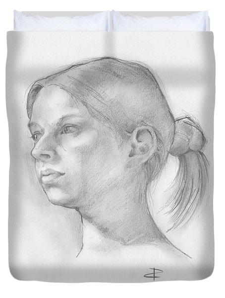 Duvet Cover featuring the drawing Issabell by Paul Davenport