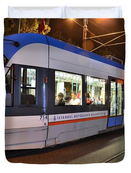 Istanbul Tram At Night Duvet Cover by Imran Ahmed