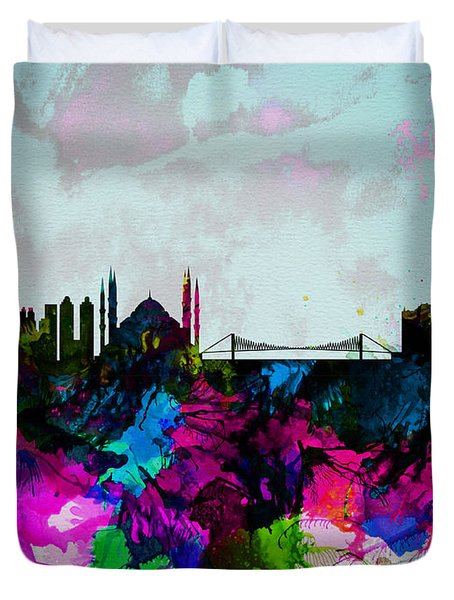 Istanbul Watercolor Skyline Duvet Cover
